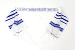 Load image into Gallery viewer, Tallit- Traditional white with blue/silver stripe