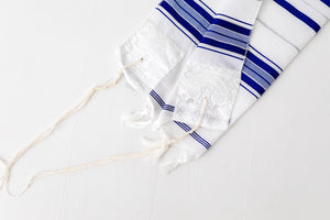 Tallit- Traditional white with blue/silver stripe