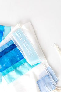 Tallit- Beautiful in shades of soft blue, lilac or pink with a touch of silver