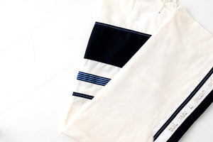 Tallit- Ivory wool with wide navy band and blue/silver band- Handmade in Israel