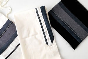Tallit- White with Black, Gray, and Silver- Handmade in Israel