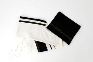 Tallit-Ivory with black band and gold accents - Handmade in Israel