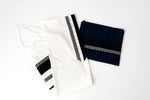 Load image into Gallery viewer, Tallit- Navy band with silver ribbon and fringe
