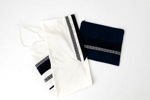 Tallit- Navy band with silver ribbon and fringe
