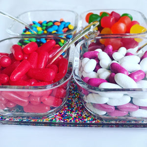 Acrylic  Sprinkle Serving Tray- 4 cups, 4 Spoons