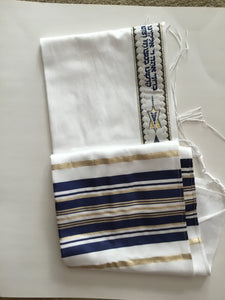 Tallit- Traditional white  with blue/gold stripe.