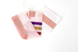 Tallit - Delicate Pink Organza with rich purple, gold and rose ribbons