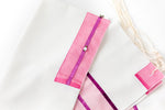 Load image into Gallery viewer, Tallit- Gorgeous off white with pink and purple trim.  Adorned with delicate flower appliques.