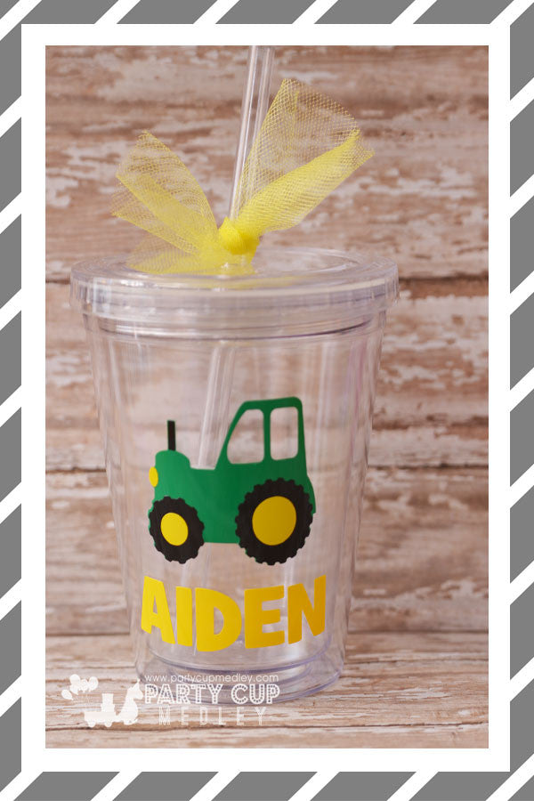 Personalized Acrylic Kid Tumblers-Little Green Tractor