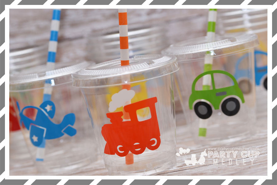 Planes Trains Automobiles Birthday Party Cups