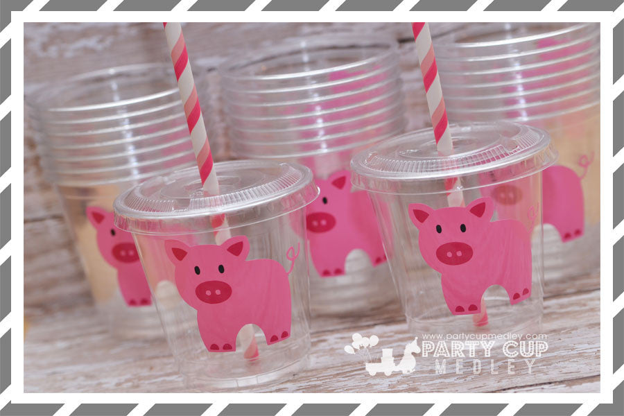 Pig Birthday Party Cups