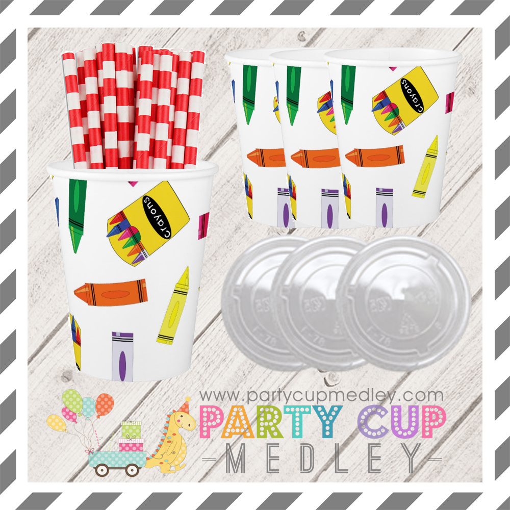 Crayon Birthday Party Cups