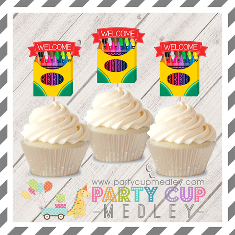 Crayon Party Cupcake Toppers