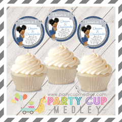 Denim and Diamonds Birthday Party Cupcake Toppers
