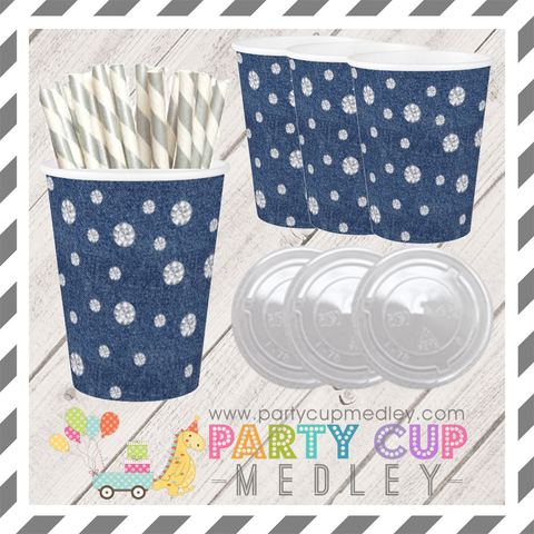 Denim and Diamonds Party Cups