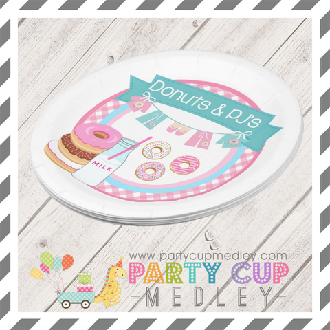 Donuts and Pj's Birthday Party Napkins Plates