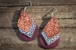 Bronze Glitter Leopard Layered Faux Leather Earrings