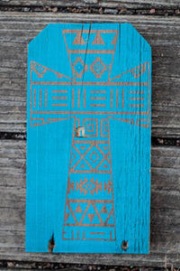 Aztec Cross Turquoise Reclaimed Wood Sign