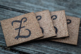 Monogram Cork Coasters- Multiple Letters Available