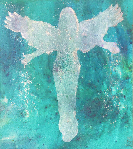 Angel of the Aurora canvas print with silver leaf