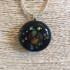 Galactic Fused Glass Pendant Necklace