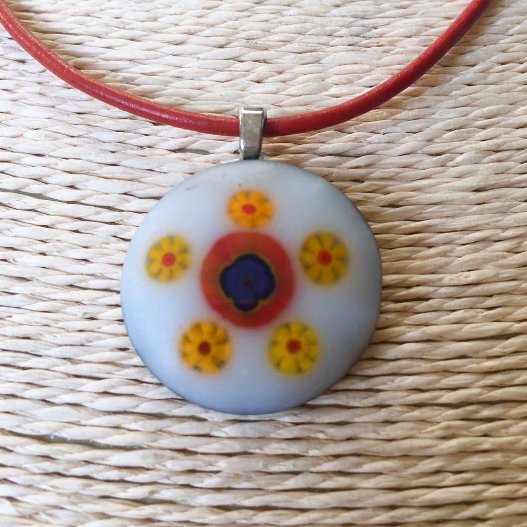 Fused Glass Pendant Necklace