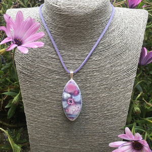 Lilac Fused Glass Pendant Necklace