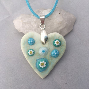 Daisy Heart Aqua Porcelain and Fused Glass Pendant Necklace
