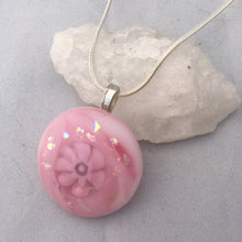 Load image into Gallery viewer, Pink Fused Glass Pendant Necklace