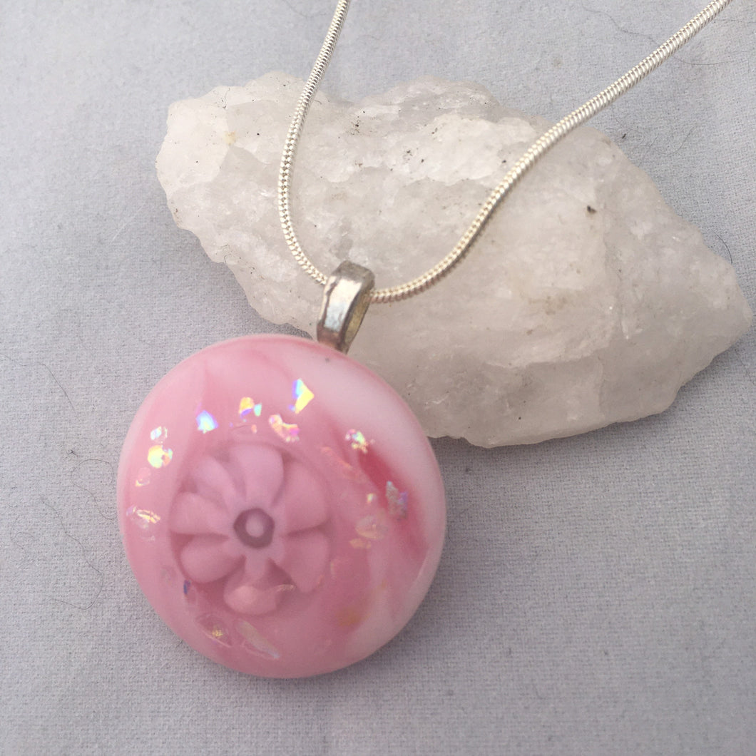 Pink Fused Glass Pendant Necklace