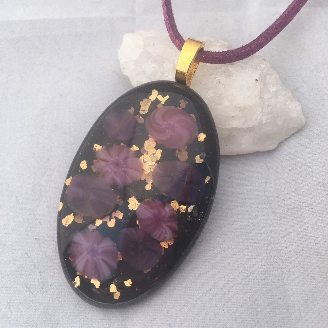 Floral Fused Glass Pendant Necklace