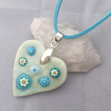 Load image into Gallery viewer, Daisy Heart Aqua Porcelain and Fused Glass Pendant Necklace