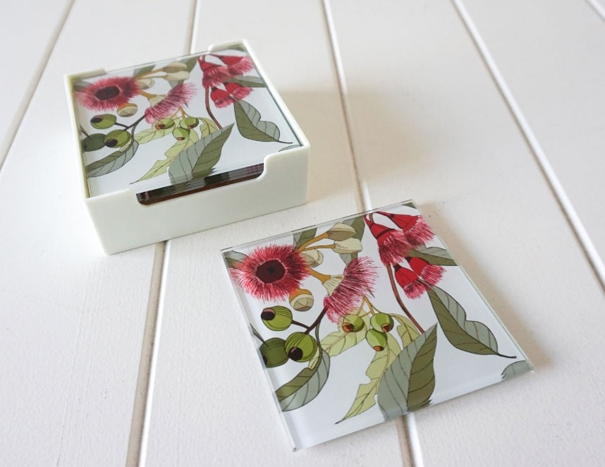 Glass Coasters - Flowering Gum.