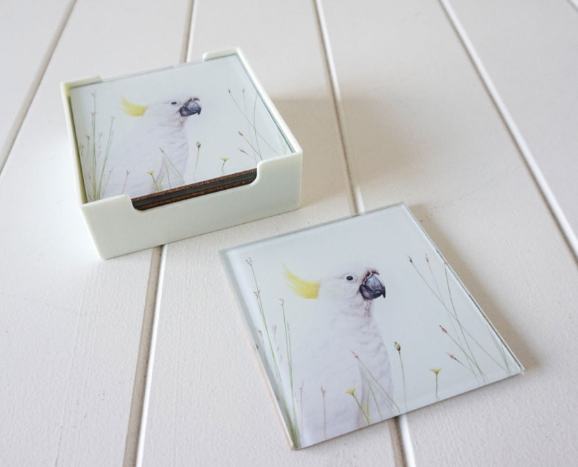 Glass Coasters - Sulphur Crested Cockatoo.