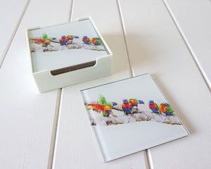 Glass Coasters - Rainbow Lorikeets.