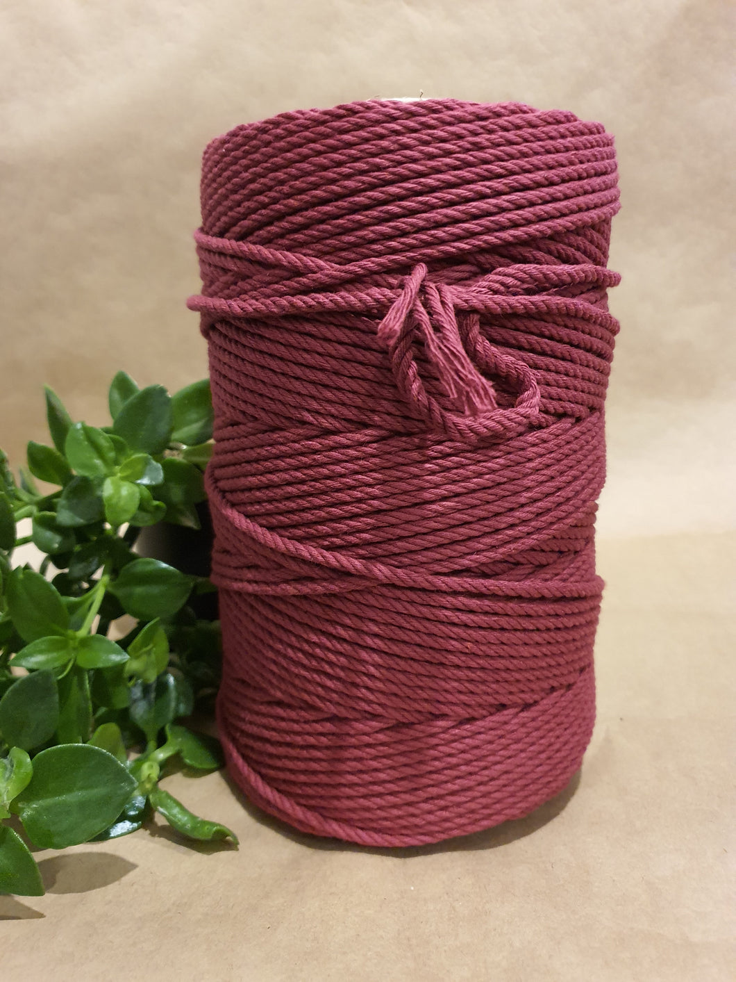 4.5mm Cotton Macrame Cord: Maroon