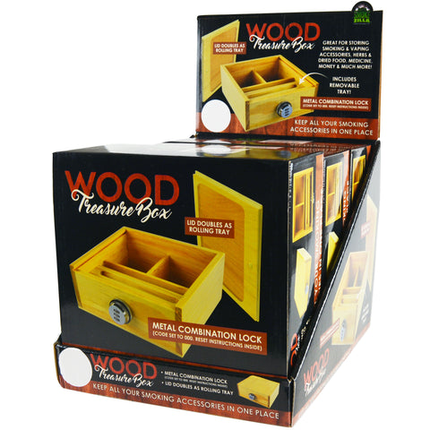 Item# 21910. Wooden Treasure Box with Combination Lock.  $225/case.  18 pcs, 6 inners of 3 pcs. Free Shipping!