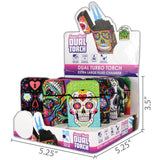 Item# 25184. Sugar Skull Dual Torch.  $450/case.  180 pcs, 12 inners of 15 pcs.  Free Shipping!