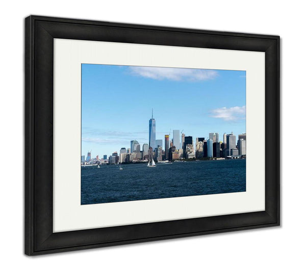 Framed Print, New York City Manhattan Skyline One World Trade Center Tower - X-Marks