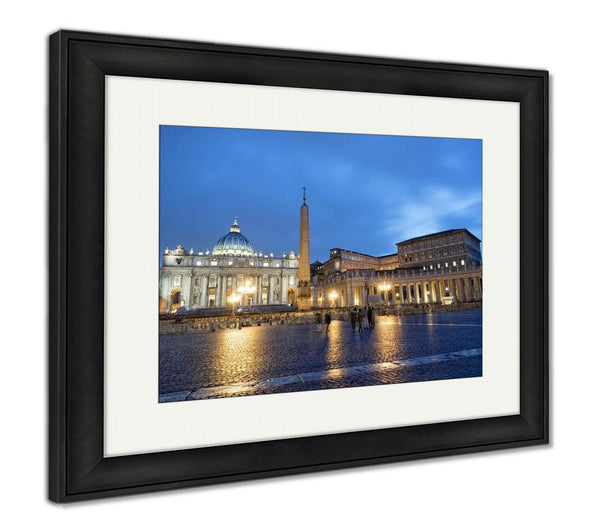 Framed Print, Colosseum Rome Vatican Place Saint Peter Cathedral At Night - X-Marks
