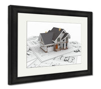Framed Print, Residential House On Architect Blueprints Housing Project - X-Marks