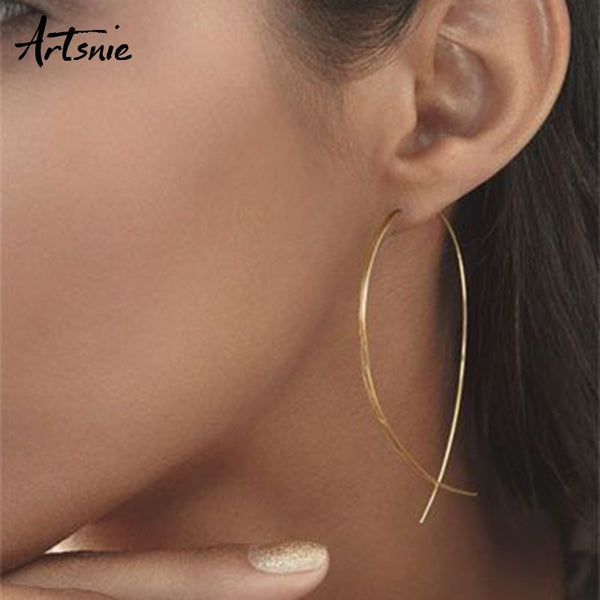 Artsnie Gold Metal Geometric Hoop Earrings Women Round Earrings - X-Marks
