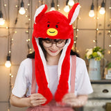 Kocozo Rabbit Hat with Moving Ears Cute Cartoon Toy Hat Airbag Kawaii Funny Toy Cap Kids Plush Toy Birthday Gift  Hat for Girls - X-Marks