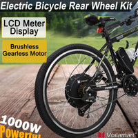 "Voilamart 26"" Rear Wheel Electric Bicycle 1000W 48V E Bike Motor Conversion Kit with LCD Meter - X-Marks"