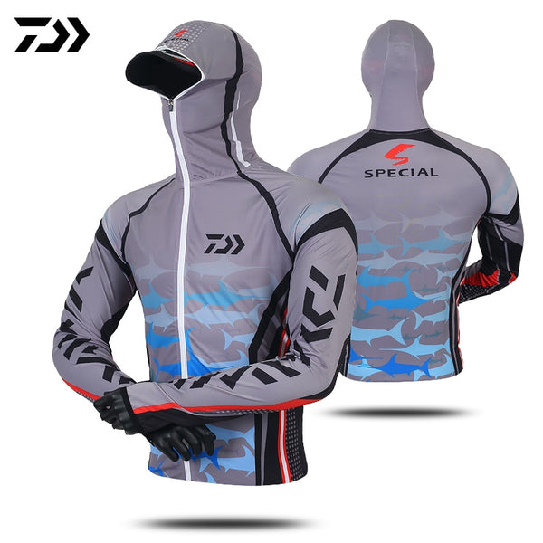 Daiwa Professional Fishing Hoodie Anti-UV Sunscreen Sun Protection Face Neck Fishing Shirt Breathable Quick Dry Fishing Clothes - X-Marks