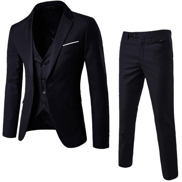 (Blazer+Pant+Vest) 3Pcs/Set Black Suits Slim Wedding Set Classic Blazers Male Formal Business Dress Suit Male Terno Masculino - X-Marks