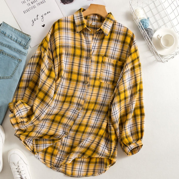 New Arrival Women Vintage Plaid Oversized Blouse Batwing Sleeve Turn Down Collar Purple Shirt Button Up Casual Tops T04001F - X-Marks