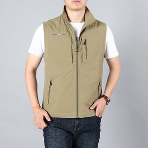 MAIDANGDI Men's Waistcoat  Jackets Vest 2020 Summer New Solid Color Stand Collar  Climbing Hiking Work Sleeveless With Pocket - X-Marks