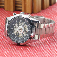 Men's Hollow Skeleton Dial Automatic Mechanical Stainless Steel Band Wrist Watch Mas-culino Fashion Men's Watch Large Dial Milit - X-Marks