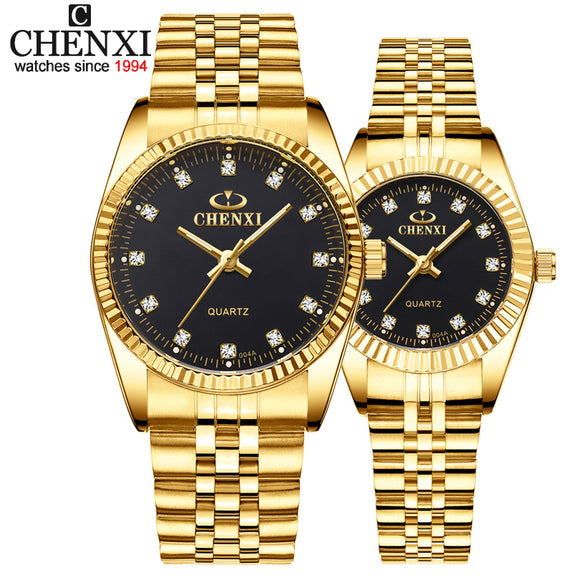 CHENXI Luxury Couple Watch Golden Fashion Stainless Steel Lovers Watch Quartz Wrist Watches For Women & Men Analog Wristwatch - X-Marks